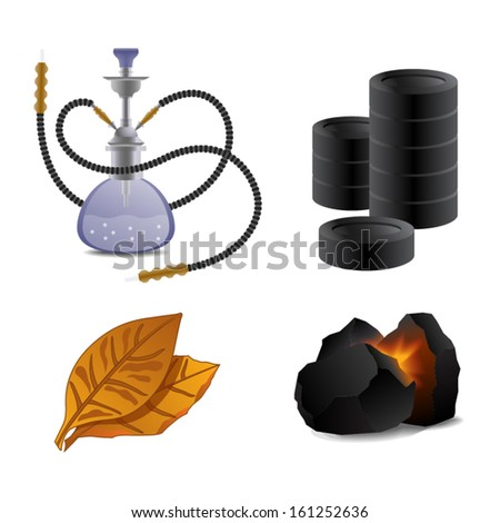 Hookah, tobacco and coal icon set vector illustration - stock vector