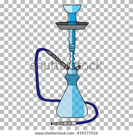 Hookah tobacco arabic tube and relaxation turkish hookah traditional symbol a transparent background - stock vector