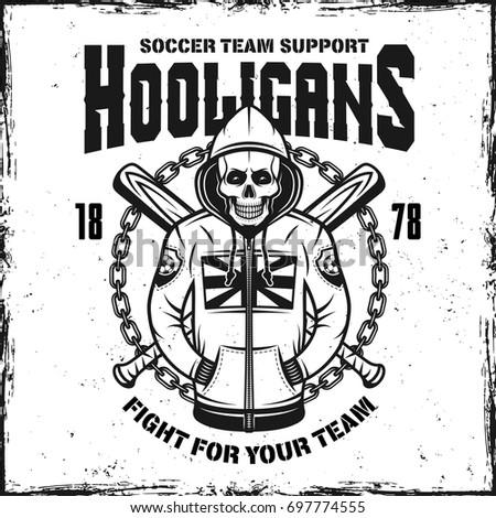 Hooligan Skull In Hoodie Vintage Print With Two Crossed Baseball Bats Vector Illustration