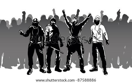 Hooligans and street riots vector image - stock vector