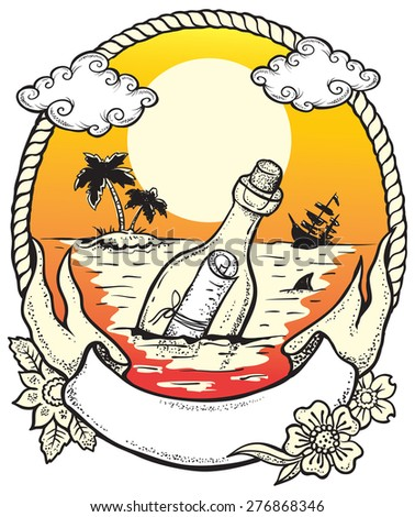 Hope. Vector illustration of the bottle with a letter inside, thrown into the ocean in the hope of salvation. - stock vector