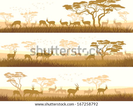 Horizontal abstract banners of herd antelope in African savanna with trees. - stock vector
