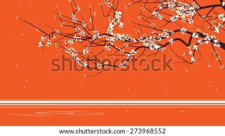 Horizontal abstract illustration drawing of blossoming tree branch on orange. - stock vector