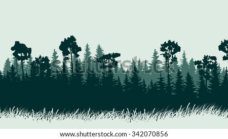 Horizontal abstract illustration of green coniferous forest with grass. - stock vector