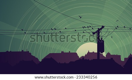 Horizontal abstract illustration of night city with birds on power line in green tone. - stock vector