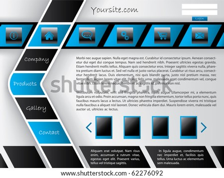 Horizontal and arrow shaped button bar website template - stock vector