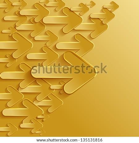 horizontal arrows gold - stock vector