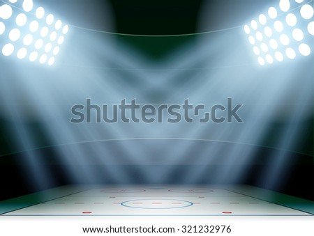 Horizontal Background for posters night ice hockey stadium in the spotlight. Editable Vector Illustration. - stock vector