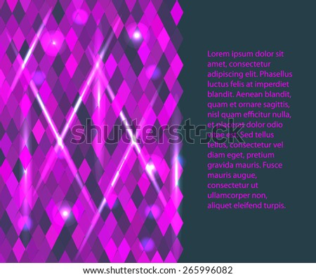 horizontal background for your text or presentation  with pink rhombus - stock vector