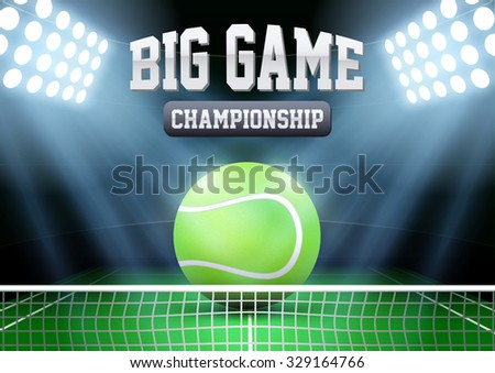 Horizontal Background night tennis stadium in the spotlight with big ball. Editable Vector Illustration. - stock vector