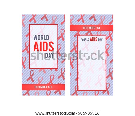 Horizontal banner for 1st December World AIDS Day. Red Ribbon - symbol awareness pandemic AIDS / HIV. Design banner template. Vector illustration.