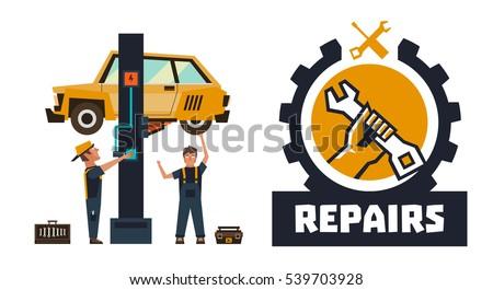 horizontal banner template on car repairs stock vector 539703928 rh shutterstock com Vintage Spark Plug Wrench Logo Vintage Wrench Plug Wrench Logo