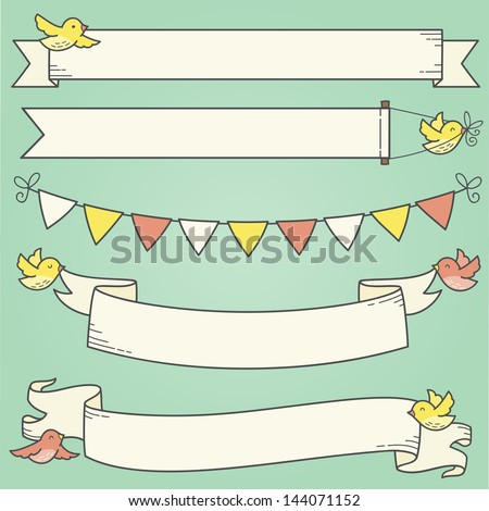 Horizontal Banners and Birds - stock vector