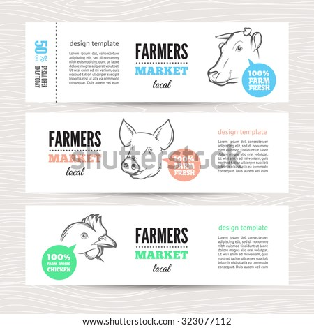Horizontal banners with cow, pig and chicken. Perfect for farm market advertising, farming industry and meat product business. Modern business identity for bio products and agricultural industry. - stock vector