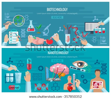 Horizontal banners with elements of biotechnology and nanotechnology design collection vector illustration - stock vector