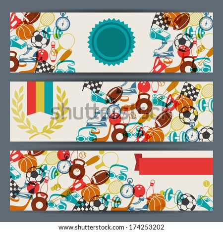 Horizontal banners with sport icons. - stock vector