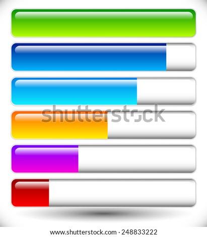 Horizontal bars. Loading bars, progress indicators. Completion  - stock vector