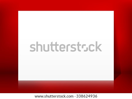 Horizontal Blank White Vector Paper Panel on Red Background Template - Empty Christmas Season  Greeting Card Backdrop for Your Own Design. XMas - X-Mas, Billboard, Placard and Advertising Space. - stock vector