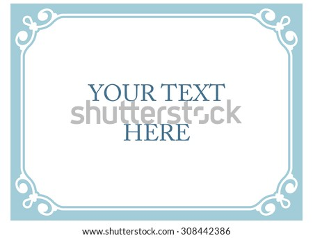 Horizontal blue border frame deco. Vector art simple line corner signboard - stock vector
