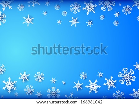 Horizontal blue frame with snowflakes on top and bottom - stock vector