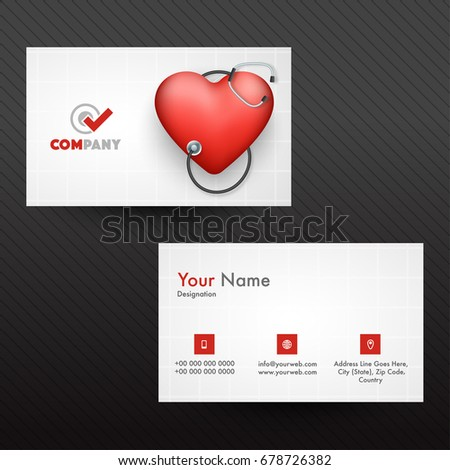 Horizontal business card visiting card name stock vector 678726382 horizontal business card visiting card or name card with glossy red heart and stethoscope for reheart Choice Image