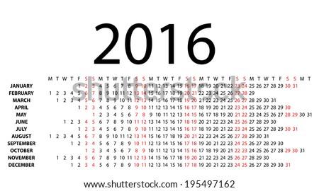 Horizontal calendar for 2016 on white background. Vector EPS10. - stock vector
