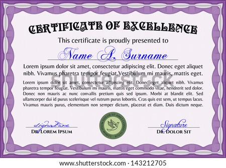 Horizontal Certificate Of Excellence (template)