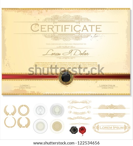 Horizontal certificate template with additional design elements - stock vector