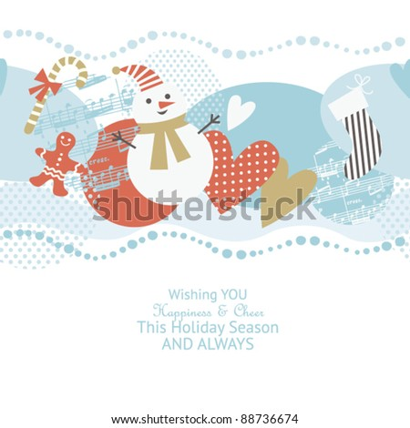 Horizontal Christmas background - stock vector