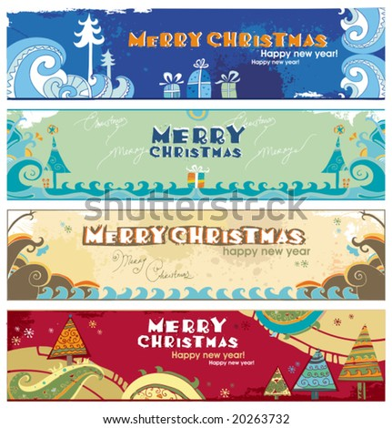 Horizontal Christmas banners with space for your text. To see similar, please VISIT MY GALLERY. - stock vector