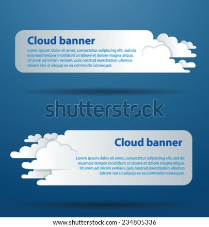 Horizontal Cloud Banners, vector - stock vector