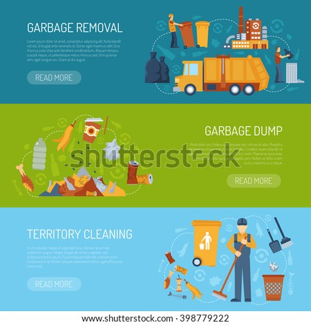 Horizontal color banner with information about territory cleaning garbage dump and removal vector illustration - stock vector