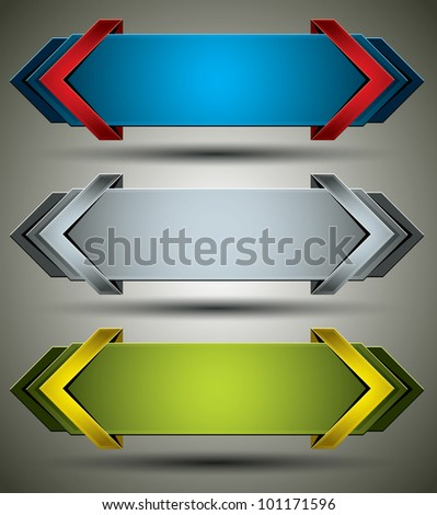 Horizontal 3d banners finished with arrows, set of color versions, vectors collection. - stock vector