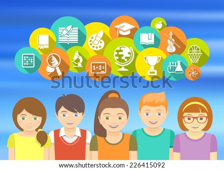 Horizontal flat colorful vector illustration with a group of excited kids who are happy to study. Educational icons and concepts. - stock vector