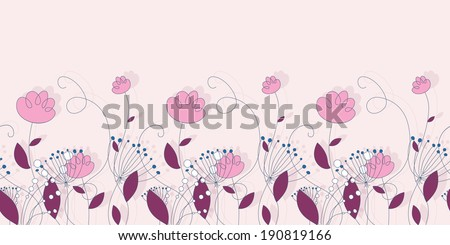 Horizontal floral seamless pattern in pink. Cute ornament hand-drawn - stock vector