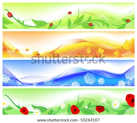 horizontal four seasons web banners. Summer, autumn, winter and spring - stock vector