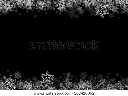 Horizontal frame with drawn snowflakes layered on top and bottom - stock vector