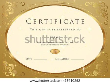 Certificate Completion Template Sample Background Golden – Official Certificate Template