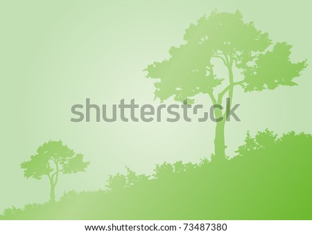 Horizontal green background with silhouette of trees - stock vector