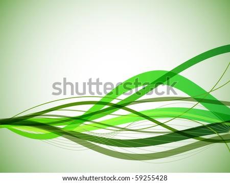 Horizontal green wavy stripes background. - stock vector