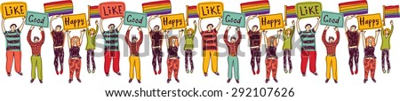 Horizontal group meeting homosexual people with rainbow flags Big happy pride in meeting. Color vector illustration.  - stock vector
