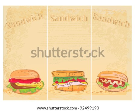 Horizontal grunge background with sandwich set - stock vector