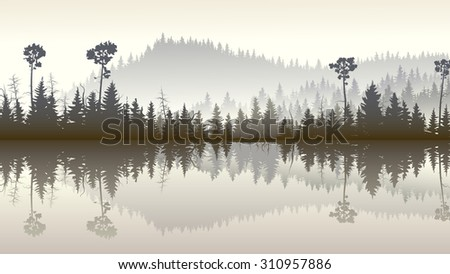 Horizontal illustration morning misty coniferous forest hills with its reflection in lake. - stock vector