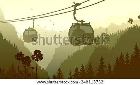 Horizontal illustration mountains coniferous wood with ski lift in green tone. - stock vector