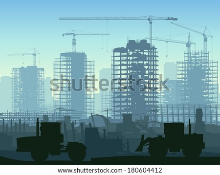 Horizontal illustration of construction site with cranes and skyscraper with tractors, bulldozers, excavators and grader in blue tone. - stock vector