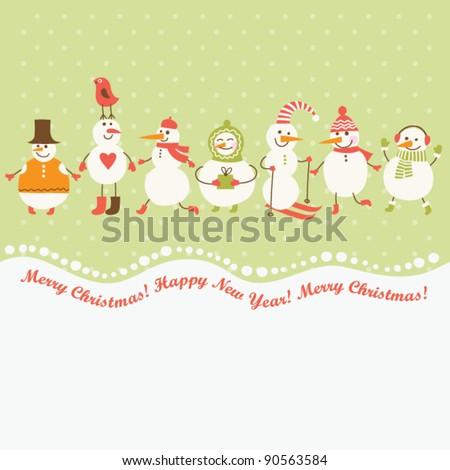 Horizontal illustration of cute snowmen - stock vector
