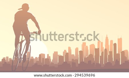 Horizontal illustration of lonely cyclist rides at sunset on background of big city and skyscrapers with glare from sun. - stock vector