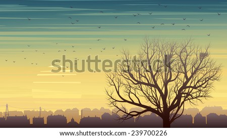 Horizontal illustration of old historic European city and lonely tree without leaves with nest and birds at sunset. - stock vector