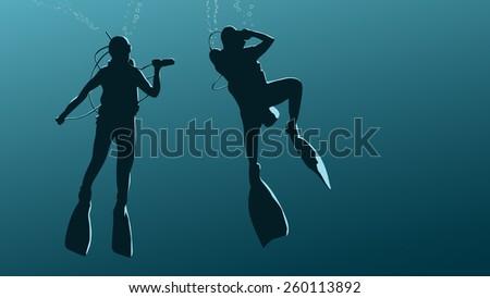 Horizontal illustration of scuba divers under water in dark blue tone. - stock vector
