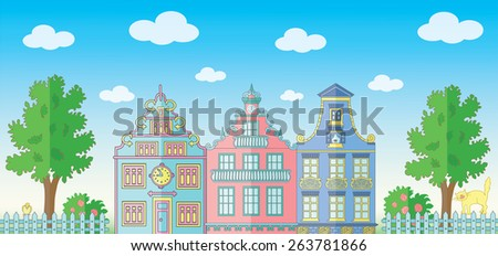Horizontal illustration with cute houses, small fence, cat, bushes and trees in summer - stock vector